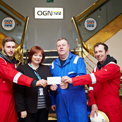 left to right - Kyle McLoughlin (Barrier), Head of Fundraising for Newcastle upon Tyne Hospitals NHS Charity, Pauline Buglass, Dave Cairns (Barrier) and Geoff Henderson (Barrier) at OGN
